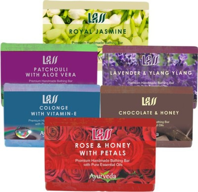 Lass Naturals Sensual Pack of Soaps ( Lavender ylang,Chocolate honey,Royal Jasmine,Patchoili and Aloe Vera,Colonge Vetime E,Rose and Honey )