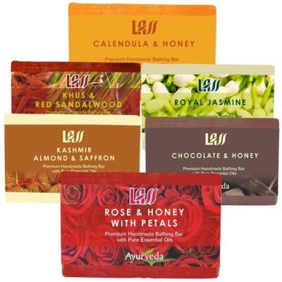 Lass Naturals Combo of Soaps for Women's ( Rose and Honey,Chocolate honey,Almond Saffron milk,Calendula honey,Royal Jasmin,Khus & Sandalwood )