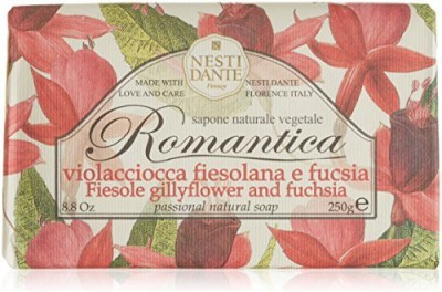 Nesti Dante Romantica Fiesole Gillyflower and Fuchsia Flower Natural Floral Scented Bar Soap for Bath Hands and Body