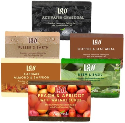 Lass Naturals Scrub Pack of Soaps ( Activated Charcol,Almond and Saffron Milk,Peach and Apricot,Neem and Basil,Coffee and Oat,fullers earth )
