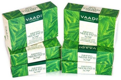 Vaadi Herbals Purifying Neem Patti Soaps with Pure Neem Leaves - Pack of 6