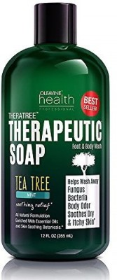 Oleavine Antifungal Soap with Tea Tree Oil & Neem . Helps Wash Away Athletes Foot Body Odor Acne Jock Itch Nail Fungus Ringworm. Foot & Body Wash. 100% Natural Care & Defense Against Skin Irritation
