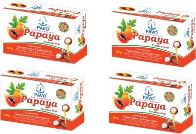 Pavo Papaya Premium Soap (Pack of 4)