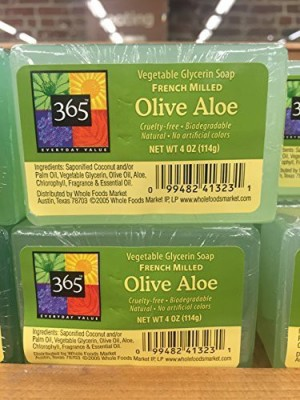 Whole Foods Market, Austin TX 365 Everyday Value Vegetable Glycerin Soup French Milled Olive Aloe (Pack of 2)