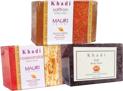 Khadimauri Saffron Oat Rose-Sandal Soaps Pack of 3 Herbal Ayurvedic Natural