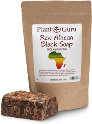 Plant Guru Raw African Black Soap Imported From Ghana. Grade A Professionally Packaged in Quality Heat Sealed Resealable Zip Lock Pouch