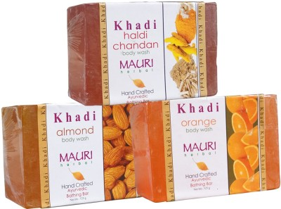 Khadimauri Almond Haldi Chandan Orange Soaps Pack of 3 Herbal Ayurvedic Natural