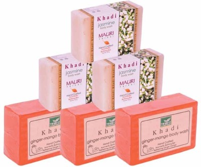 Khadimauri Ginger-Mango & Jasmine Triple Pack Soaps - Combo Pack of 6 - Premium Handcafted Herbal