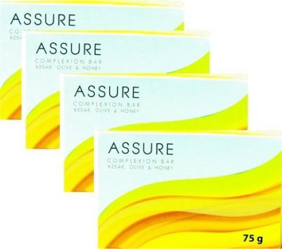 Assure Complexion Bar-Kesar,Honey & Olive - Pack of 4 Each 75gm