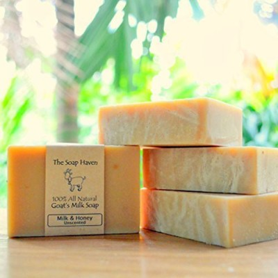 The Soap Haven Handmade Goat's Milk and Honey Soap - 100% All Natural Fragrance Free (4 Bar Pack). Wonderful for Eczema Psoriasis sensitive skin and all skin types. SLS Free NO Sulfates NO Parabens NO Preservatives NO harmful crap. - Made in USA.
