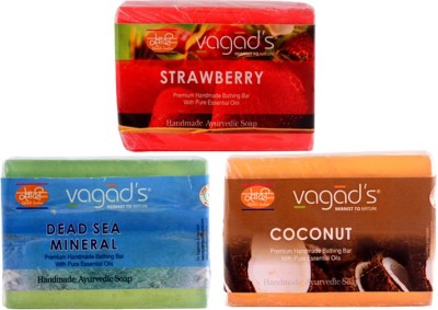Vagad's Khadi Strawberry,Dead Sea Mineral, Coconut Handmade Soap