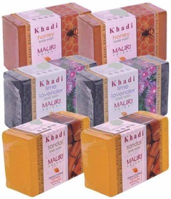 Khadimauri Honey, Lime-Lavender& Sandal Double Pack Soaps - Combo Pack of 6 - Premium Handcafted Herbal