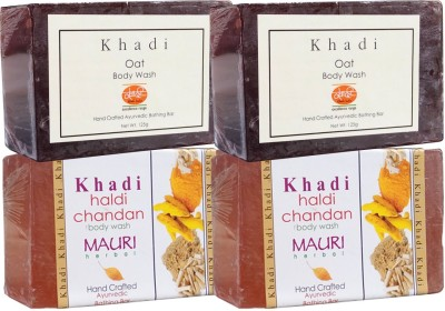 Khadimauri Haldi Chandan & Oat Soaps Twin Pack of 4 Herbal Ayurvedic Natural
