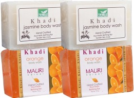 Khadi Mauri Jasmine & Orange Soaps Twin Pack of 4 Herbal Ayurvedic Natural