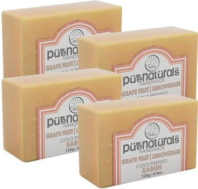 Purenaturals Hand Made Soap Grape Fruit, Lemongrass - 125g (Set of 4)