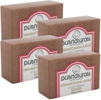 Purenaturals Hand Made Soap Bergamot | Sandal Powder - 125g (Set of 4)