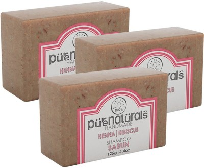 Purenaturals Shampoo Soap Henna | Hibiscus - 125G (Set of 3)