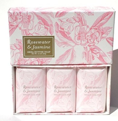 Greenwich Bay Trading Company Rosewater & Jasmine Shea Butter Spa Soap Set by Individually Wrapped 3 in Gift Box