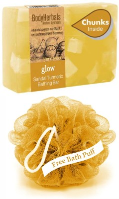 BodyHerbals Glow, Hand Made Sandal Turmeric Bathing Bar With Natural Chunks