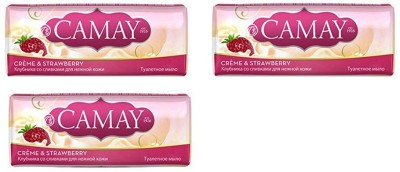 Camay Creme and Stawberry Beauty Soap ( Pack of 3)