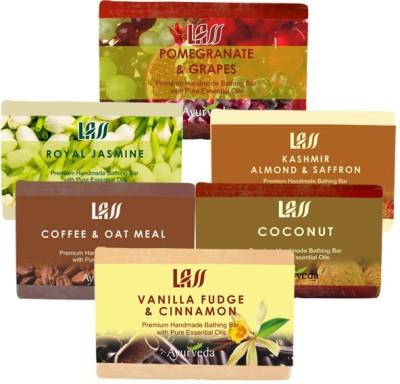 Lass Naturals Winter Care Soaps ( Coffee and Oat,Almond and Saffron Milk,Royal Jasmine,Coconut,Pomegranate Grapes,Vanilla Fudge )