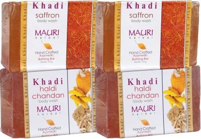 Khadimauri Haldi Chandan & Saffron Soaps Twin Pack of 4 Herbal Ayurvedic Natural