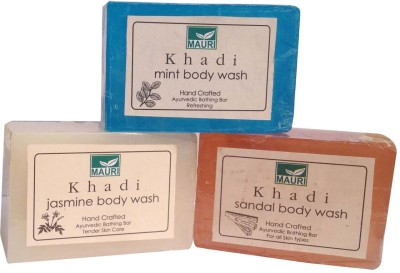 Khadimauri Jasmine Sandal Mint Soaps Pack of 3 Herbal Ayurvedic Natural