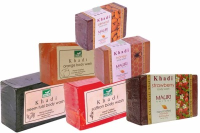 Khadimauri Neem-Tulsi Saffron Stawberry Orange Honey Almond Soaps - Combo Pack of 6 - Premium Handcafted Herbal