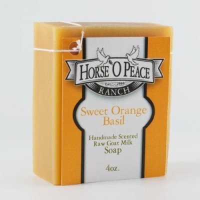 Horse ,O Peace Ranch Handmade Herbal 100% Raw Goat Milk Sweet Orange Basil Soap