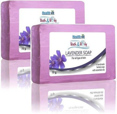Healthvit Bath & Body Lavender Soap 75g - Pack of 2