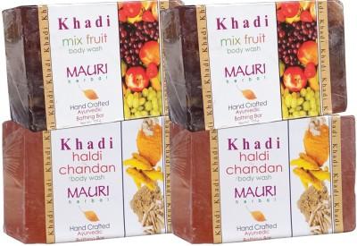 Khadimauri Haldi Chandan & Mix-Fruit Soaps Twin Pack of 4 Herbal Ayurvedic Natural