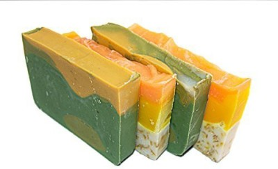 Falls River Soap Citrus Soap Bar Set (4 Guest Bars)-all Natural Handmade Soaps with Orange Essential Oil. 2 Orange & Calendula and 2 Avocado & Citrus Soaps. Set of 4 Bar
