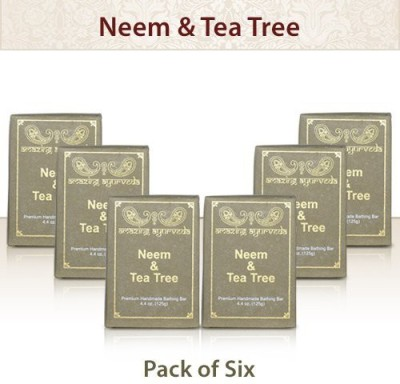 Amazing Ayurveda Premium Handmade Soap- Gentle Handmade 100% Cold Pressed Soap Made Using Nature's Finest Herbs And Oils- No Synthetic PreservativesColors or Fragrances. Neem & Tea Tree(Pack of 6)