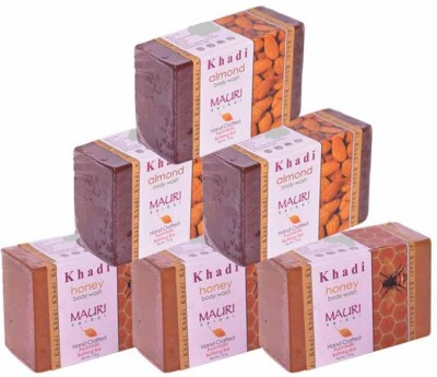 Khadimauri Honey & Almond Triple Pack Soaps - Combo Pack of 6 - Premium Handcafted Herbal