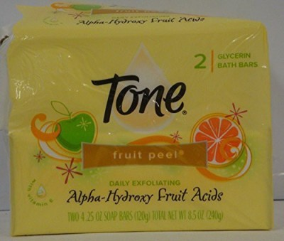T.One Fruit Peel with Alpha-hydroxy Fruit Acids Bath Bar 2 Count (Pack of 3) 6 Bars Total