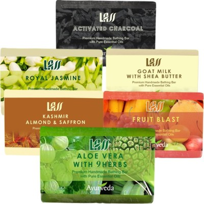 Lass Naturals Bestsellers Combos of Soaps ( Activated Charcol,Royal Jasmin,Aloe Vera 9 Herbs,Fruit Blast,Almond and Saffron Milk,Goat Milk )