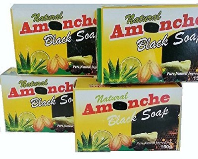 AWannaWear Natural Amonche Black Soap with Shea Butter Bar (Pack of 4)