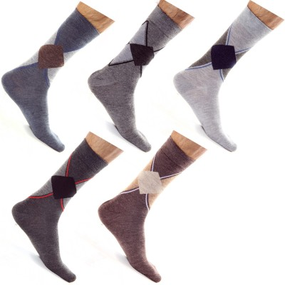 Roselon Men's Geometric Print Mid-calf Length Socks
