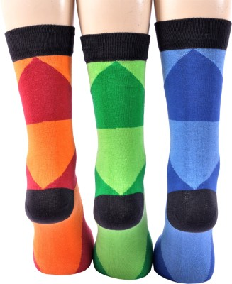 A&G Men's Geometric Print Crew Length Socks