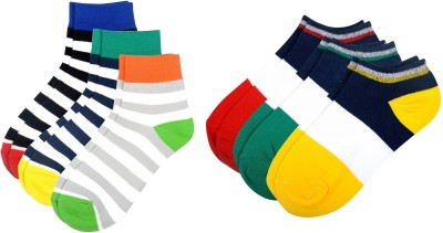Color Fevrr Mens Low Cut Socks(Pack of 6)