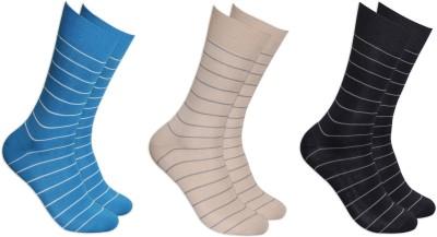 Balenzia Men's Striped Crew Length Socks