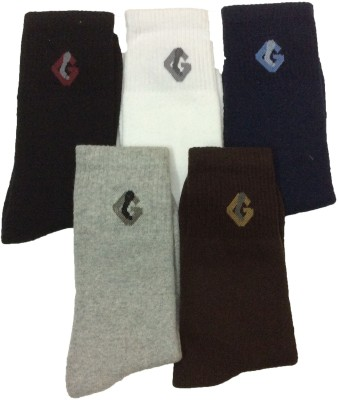 Gentle Men's Solid Crew Length Socks