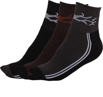 Q-tex Men's Self Design Ankle Length Socks