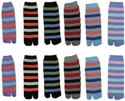 Ishaya Stores Women's Striped Ankle Length Socks(Pack of 12) at flipkart