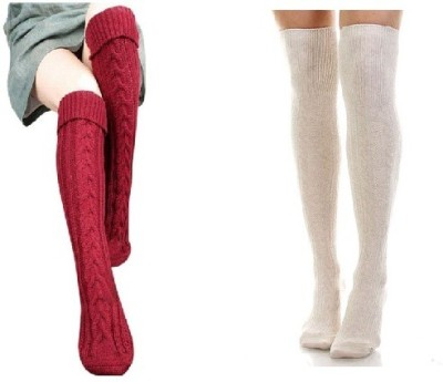 Sabhya Sakshi Women's Solid, Woven Knee Length Socks