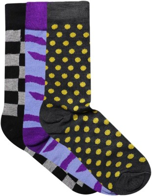 JamsSocks Men's Solid, Checkered, Animal Print Crew Length Socks