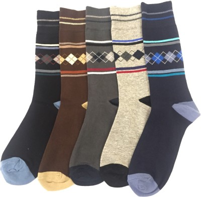 Sir Michele Cambridge3 Men's Geometric Print Crew Length Socks