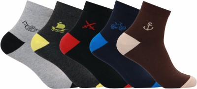 Supersox Mens Self Design Ankle Length Socks(Pack of 5)