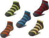 Ezzi Feet Men's Striped Ankle Length Soc...
