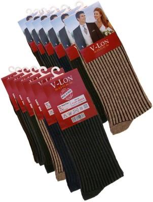 V-Lon Men's Striped Crew Length Socks